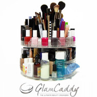 GLAM CADDY ROTATING COSMETIC ORGANIZER HOLDS UP TO 200 ITEMS SPINS 360 DEGREES