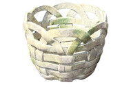 "HANDMADE CLAY BASKET MOSSED STONE POT 4.75"" H"