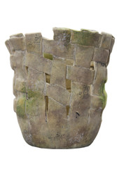 HANDMADE CLAY BASKET MOSSED STONE POT 6.5""