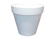 "SMALL GLAZED WHITE CERAMIC POT 5""H"
