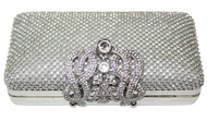 Womens Crystal Covered Small Silver Clutch Bag