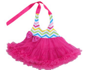 V Flourish Chevron Princess Dress Fushia Combo