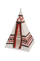 New Childrens Cotton/Canvas Kids Teepee Tent w/  Poles & Case Cushioned Floor mat included as a bonus Boy/Girl Indoor Outdoor Children Playhouse Tee Pee
