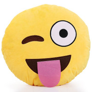 EMOTICON EMOJI SOFT YELLOW ROUND CUSHION PILLOW STUFFED PLUSH TOY DOLL TONGUE