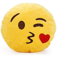 EMOTICON EMOJI YELLOW ROUND CUSHION PILLOW STUFFED PLUSH TOY DOLL KISS FACE
