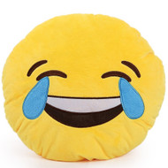 EMOTICON EMOJI YELLOW ROUND CUSHION PILLOW STUFFED PLUSH TOY DOLL LAUGH TO TEARS