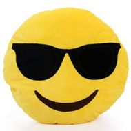 EMOTICON EMOJI YELLOW ROUND CUSHION PILLOW STUFFED PLUSH TOY DOLL COOL SUNGLASSES