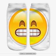 Emoticon Grinning Emoji Big Ankle Socks White