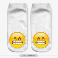 Emoticon Grinning Emoji Ankle Socks White