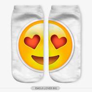 EMOTICON HEART EYES EMOJI BIG ANKLE SOCKS WHITE