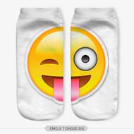 Emoticon Tongue Emoji Big Ankle Socks White