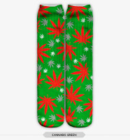 FESTIVE WEED STOCKING SOCKS ONE SIZE FITS ALL GREEN