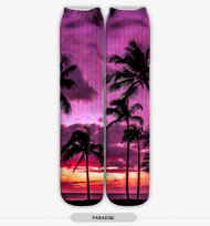 SUNSET PALM TREES STOCKING SOCKS ONE SIZE FITS ALL PURPLE