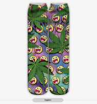 EMOTICON WEED STOCKING SOCKS ONE SIZE FITS ALL MULTI COLOR