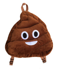 Emoticon Emoji Plush Backpack School Bag Brown Poop