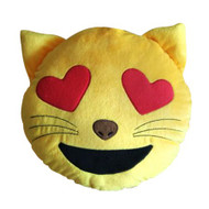 EMOTICON EMOJI YELLOW ROUND CUSHION PILLOW STUFFED PLUSH TOY DOLL CAT HEART EYES