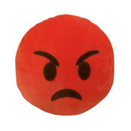 EMOTICON EMOJI SOFT RED ROUND CUSHION PILLOW STUFFED PLUSH TOY ANGRY