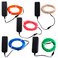 Rolling Lit 16.4ft  Neon Glowing Strobing Electroluminescent EL Wire Lights with Battery Pack Controller