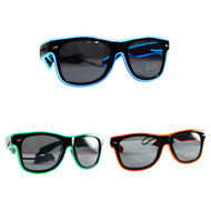 Rolling Lit Light-up Illuminated Neon Electroluminescent EL Wire LED Glasses Light Black Frame