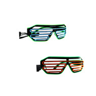 Rolling Lit Black Frame Neon El Wire LED Light Up Shutter Glasses Two Colors+ Standard Controller