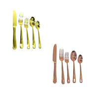 Stainless Steel Flatware Set 5-Piece Silverware Place Setting (Service For 1) Gold/Rose Gold