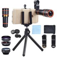 Apexel 4 in 1 Camera Lens Kit 12X Telephoto, Fisheye, Wide Angle & Macro Lens with Mini Tripod + Phone Holder for Smart Phone