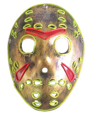 Rolling Lit LED Jason Light Up Creepy Ski Hockey Mask Gold with Neon/red