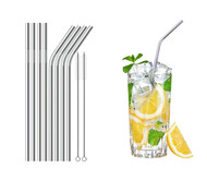 Set of 8 Stainless Steel Straws Ultra Long 8.5 Inch Drinking Metal Straws For Tumblers  Cold Beverage (4 Straight|4 Bent|2 Brush)