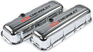 Chevrolet Big-Block V-8, 1965–1996 - Stamped Valve Covers - Chevrolet Big-Block V-8, 1965–1996 - Chrome, tall, with baffle, black/red
