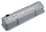 Chevrolet Small-Block V-8, 1958-1986 - Slant-Edge Die-Cast Valve Covers - Cast gray crinkle, raised logo