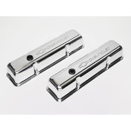 Chevrolet Small-Block V-8, 1958–1986 - Stamped Valve Covers - Chrome, tall, no baffle