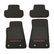 Floor Mats - Front and Rear Premium All Weather - Premium Carpet - Black Carpet, Inferno Orange Camaro Logo, Red Edging