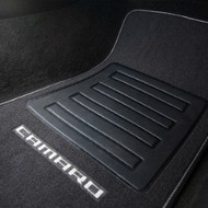 Floor Mats - Front and Rear Premium All Weather - Premium Carpet - Black Carpet, Silver Camaro Logo, Silver Edging