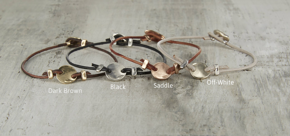 nature inspired gold disc leather bracelets