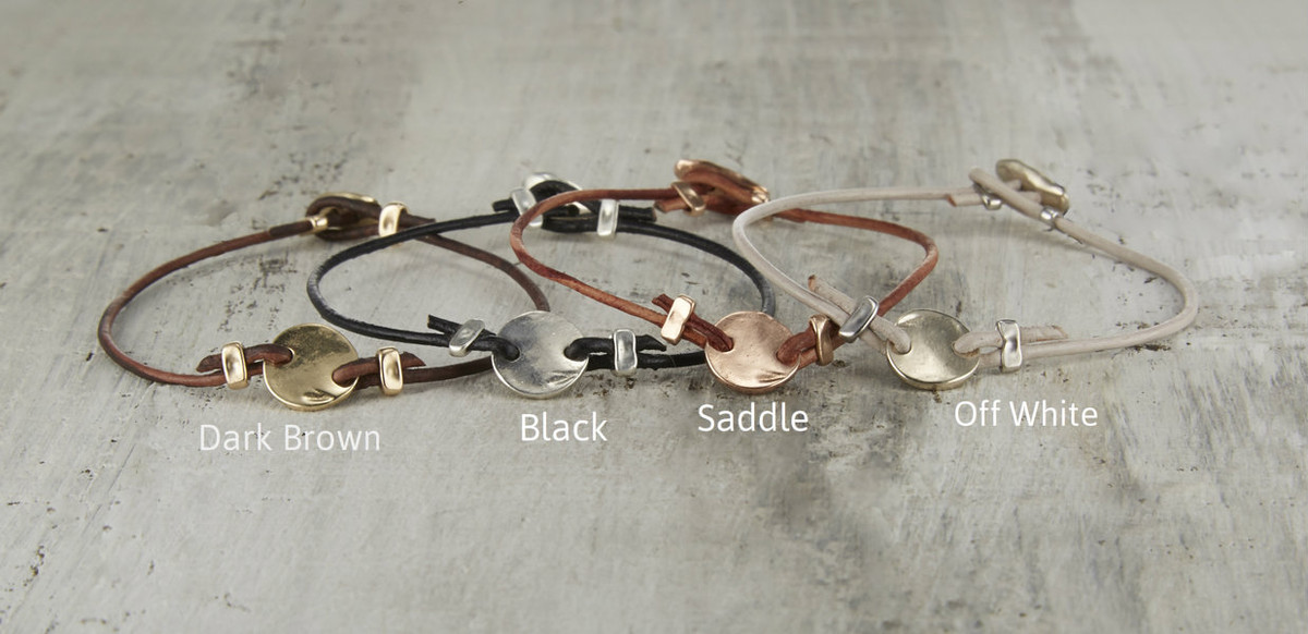 Rustic leather friendship bracelet colors.