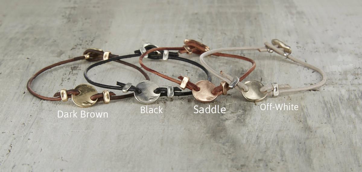 Leather string friendship bracelet colors