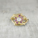 Harmony Halo Ring - Rose Cut Diamond & Pink Sapphire