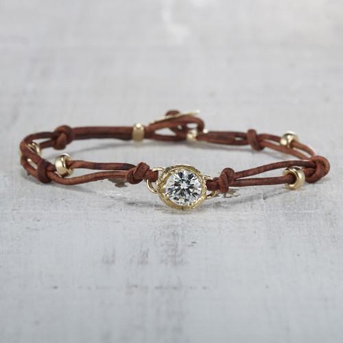moissanite leather bracelet
