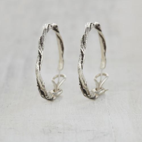 Twig hoop earrings