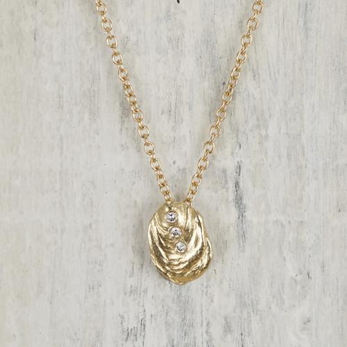 Avon Necklace 14kt Gold Pave Diamond Shell Necklace