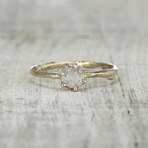 Garland Solitaire Ring - Silver Diamond