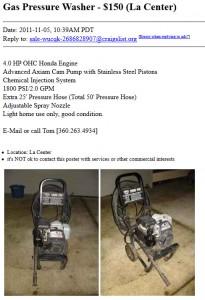 Pressure washer:  $150 OBO