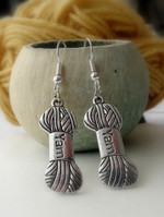 Yarn Skein Earrings - Antiqued Silver Colour