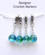 Round Sea Green & Swarovski Crochet Stitch Row Markers