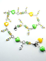 Lemon & Lime Hearts Numbered Row Counter 4mm & 2 Stitch Markers