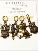 Antiqued Bronze Owl & Bird stitch markers