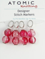 Pink Crackle Bead knitting 4mm Stitch Markers - set of 4