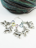Unicorn Stitch Markers on Pastel Aluminium rings