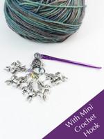 Unicorn Pastel Colour Ring 4mm Stitch Markers & Mini Crochet Hook - set of 5