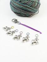 Pastel Split ring unicorn and mini crochet hook stitch markers